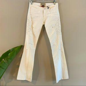 Parasuco Designer Embellished Lowrise White Jeans